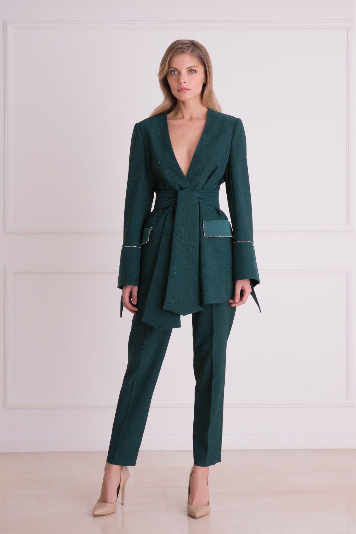 Sim Detaylı Yeşil Kumaş Pantolon