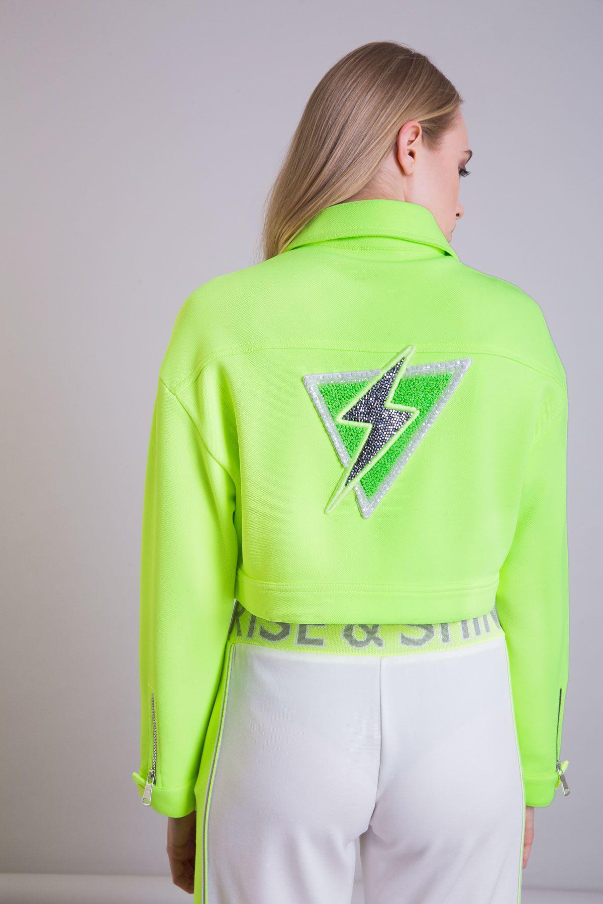Sırt Detaylı Neon Sarı Scuba Kısa Ceket