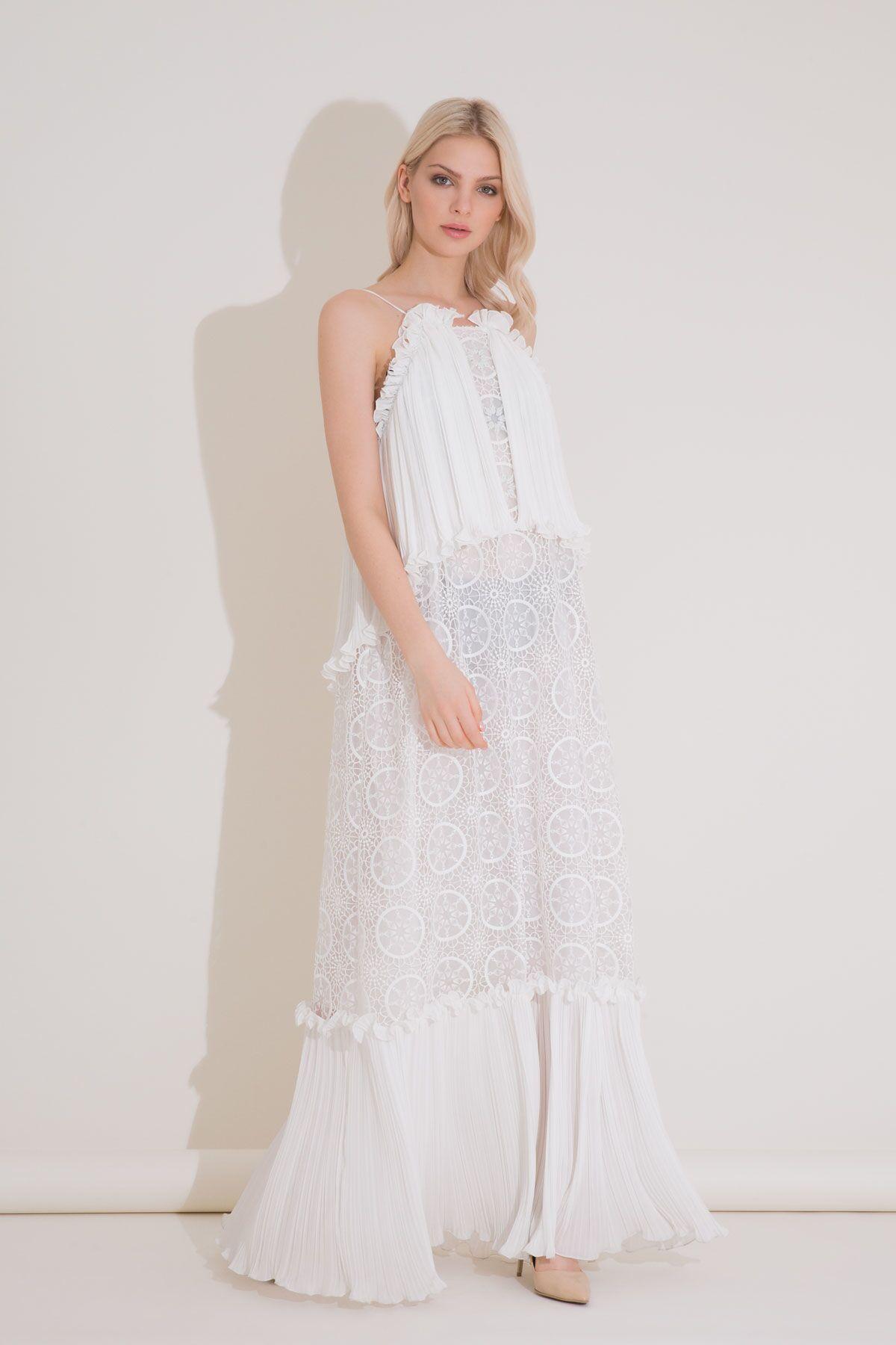Sırtı Açık Askılı Uzun Dantel Plise Ekru Elbise
