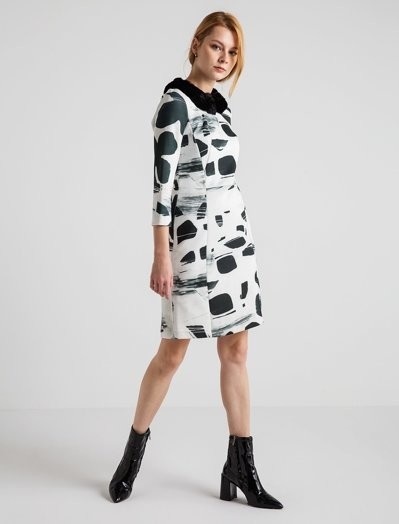 4G GIZIA - Siyah Beyaz Desenli Elbise
