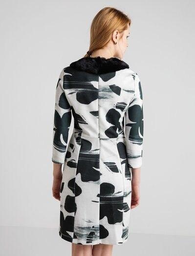 Siyah Beyaz Desenli Elbise