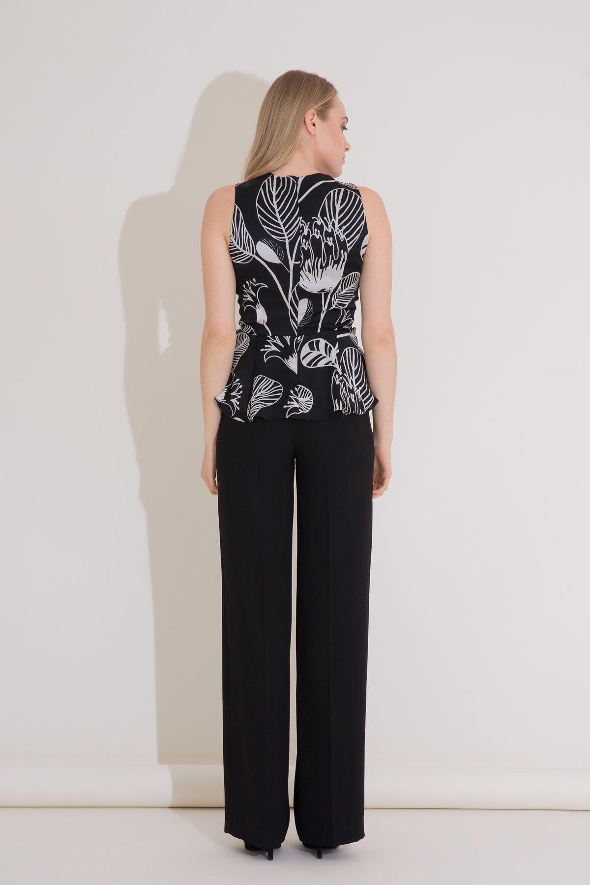 Siyah Beyaz V Yaka İpekli Anvelop Bluz