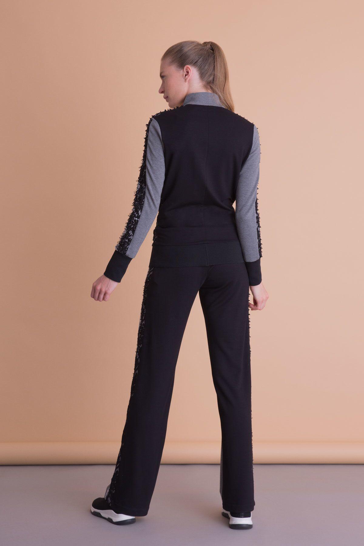 Siyah Dantel Detaylı Antrasit Gri Sweatshirt
