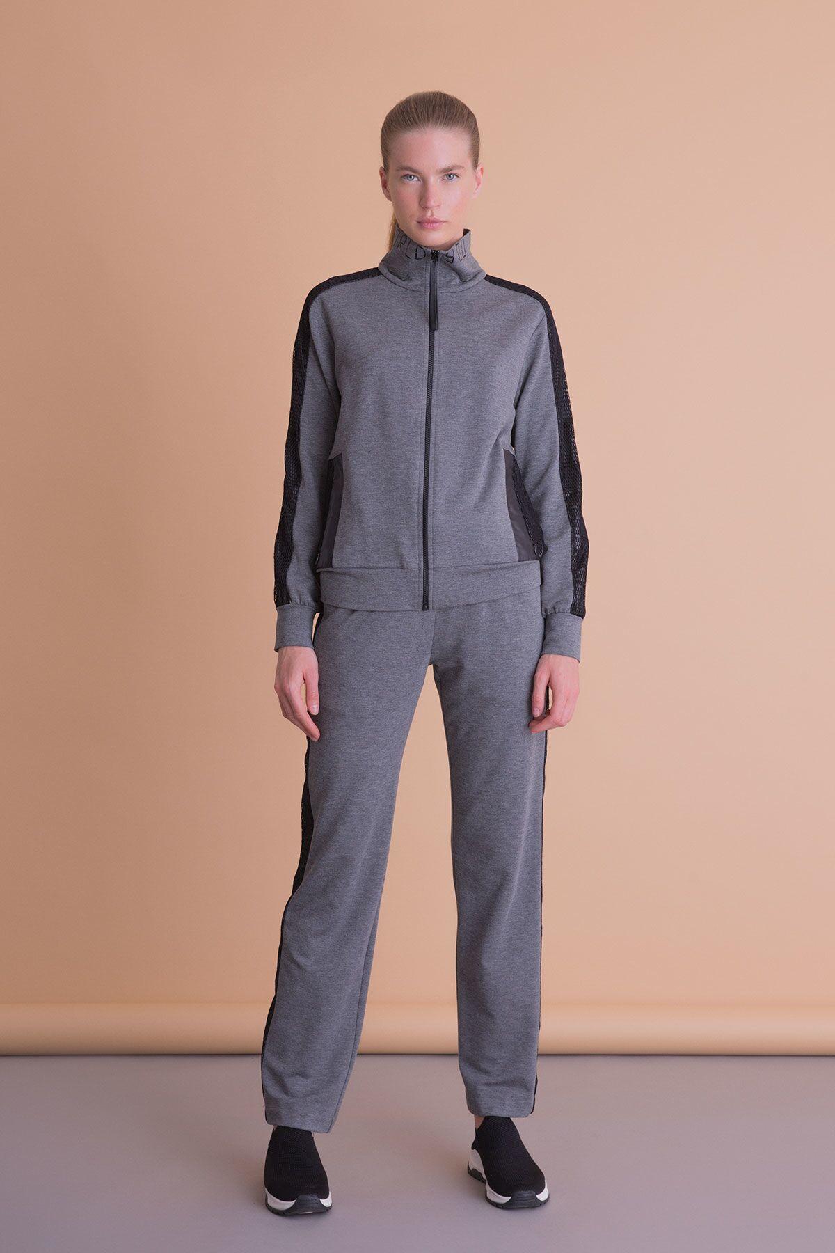 Siyah File Detaylı Antrasit Gri Fermuarlı Sweatshirt