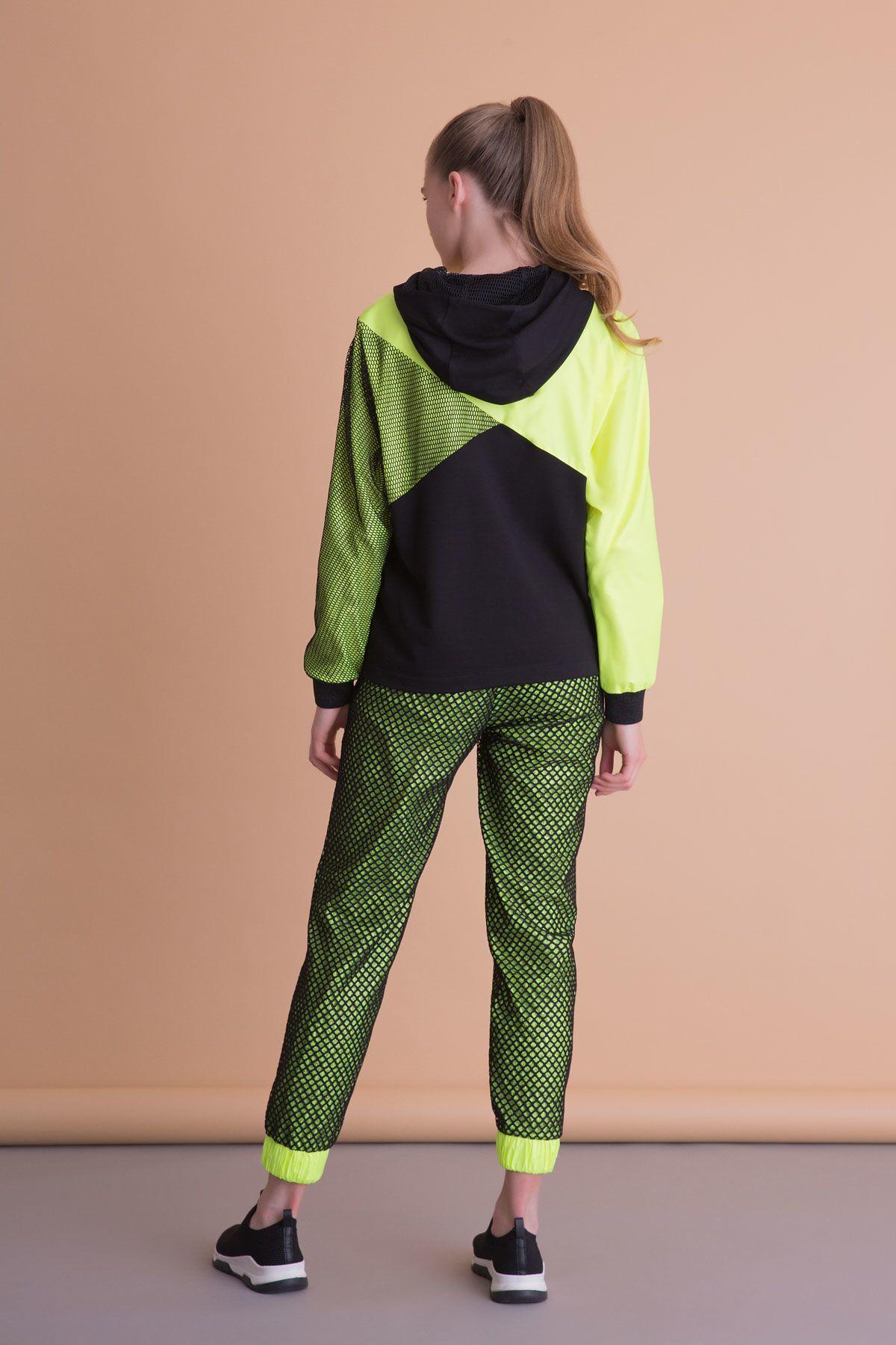 Siyah File Detaylı Neon Jogger Pantolon