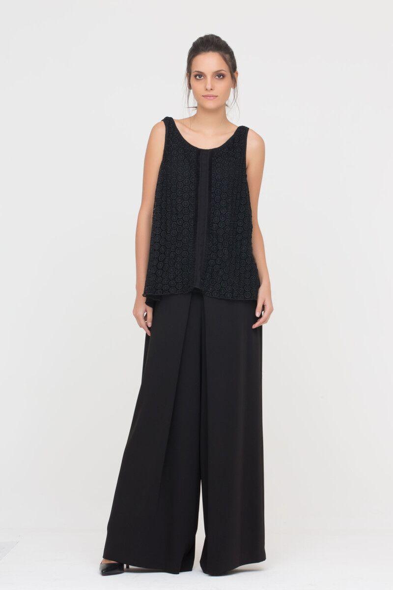 GIZIA CASUAL - Siyah Güpür Bluz