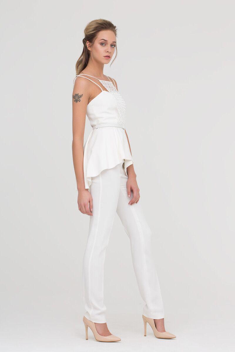 Skinny Trousers In Ecru