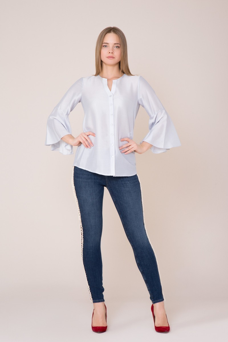 Sleeve Detailed Light Grey Shirt