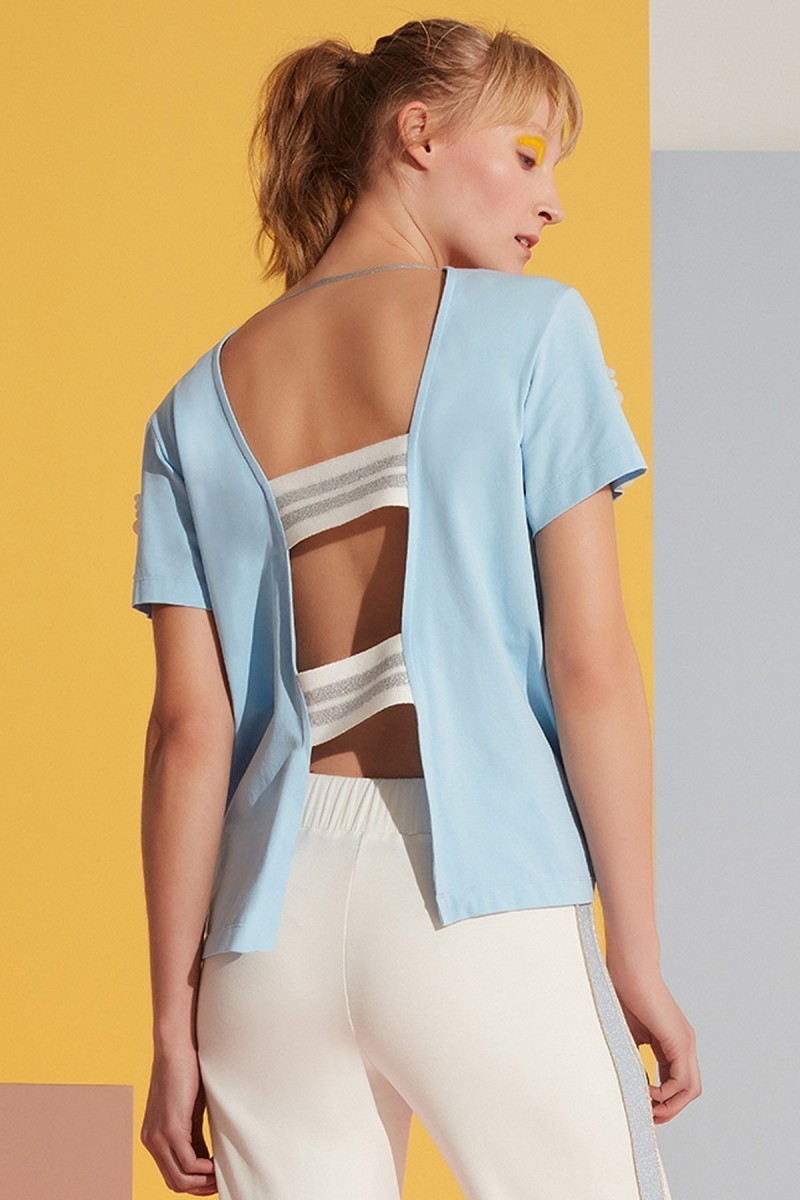 Sleeve Stone and Back Detailed Blue Sport Top