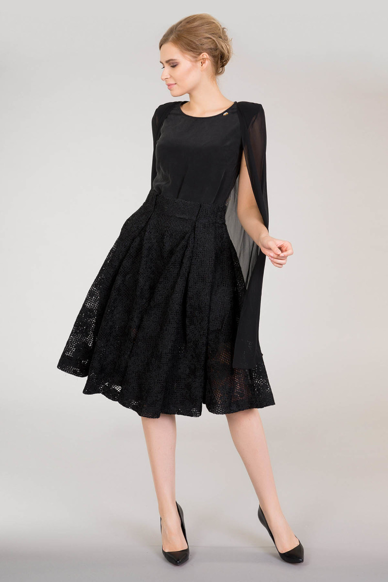 Sleeveless Black Blouse With Tulle Cape Detail