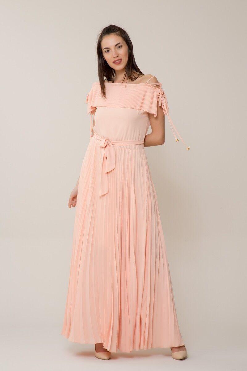 GIZIA CASUAL - Somon Rengi Pilise Uzun Elbise