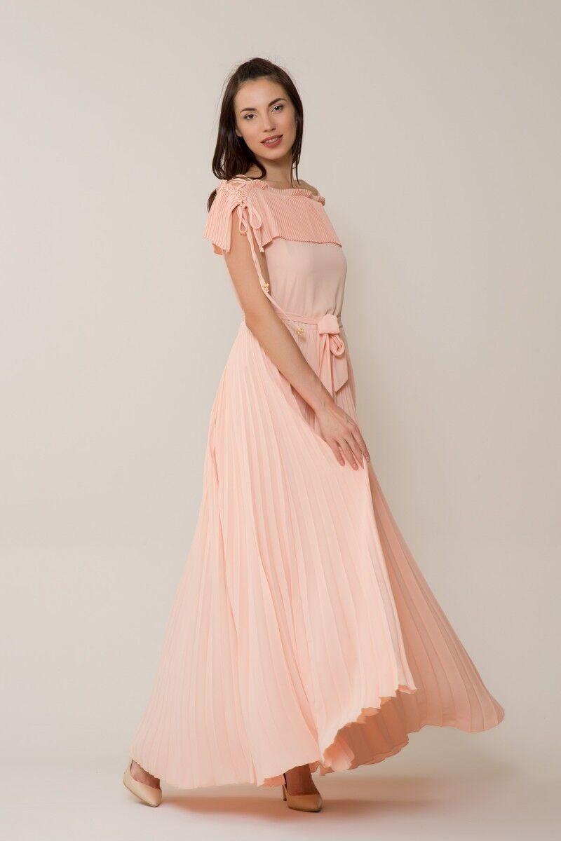 Somon Rengi Pilise Uzun Elbise