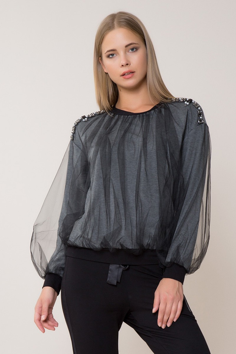 Stone and Tulle Detailed Sweatshirt