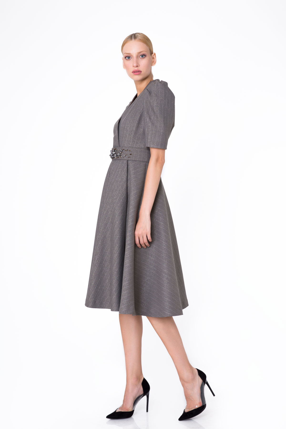 Stone Detailed Flared Midi Grey Dress