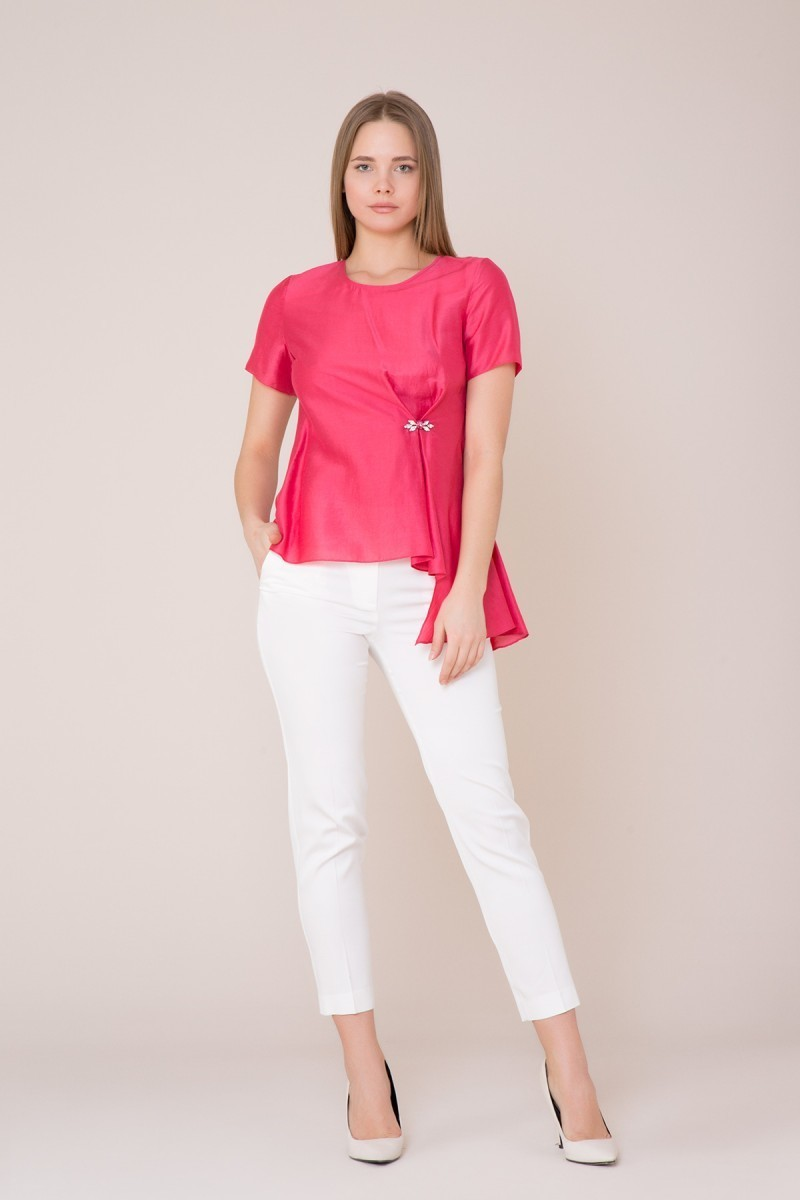 Stone Detailed Fuchsia Blouse