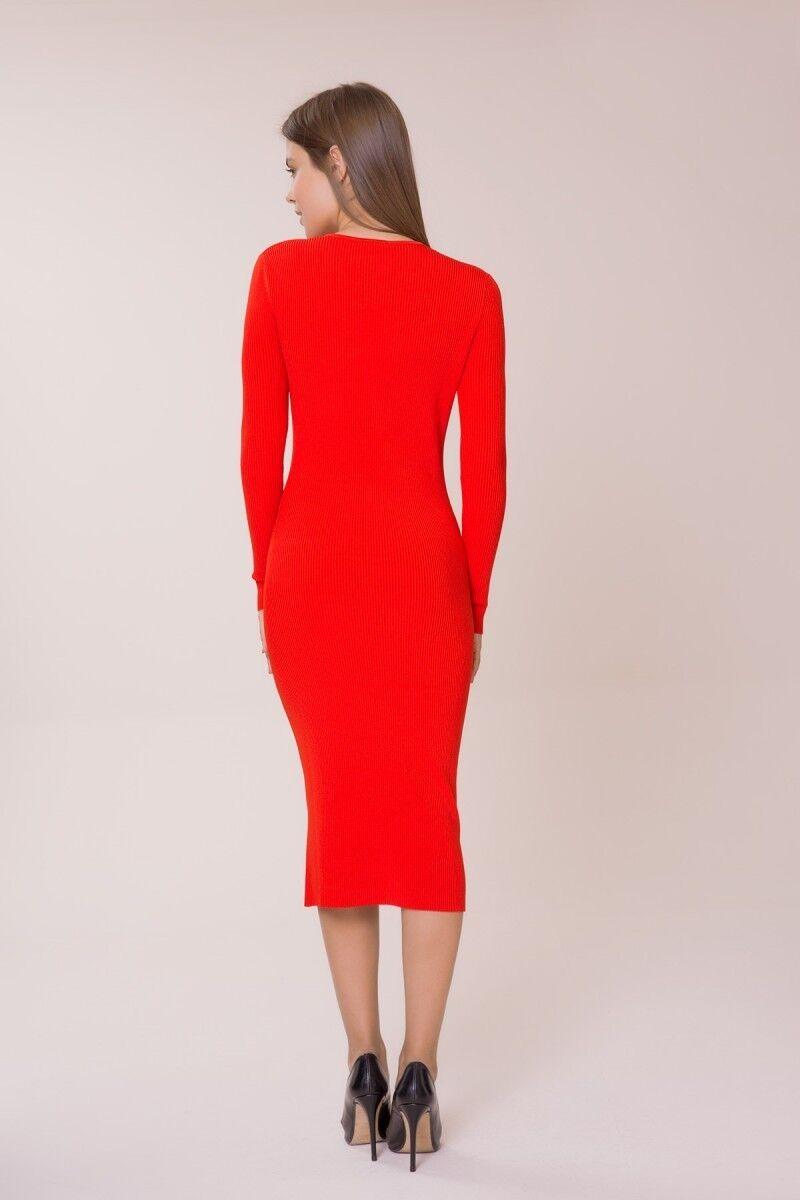 Stone Detailed Red Knitwear Dress