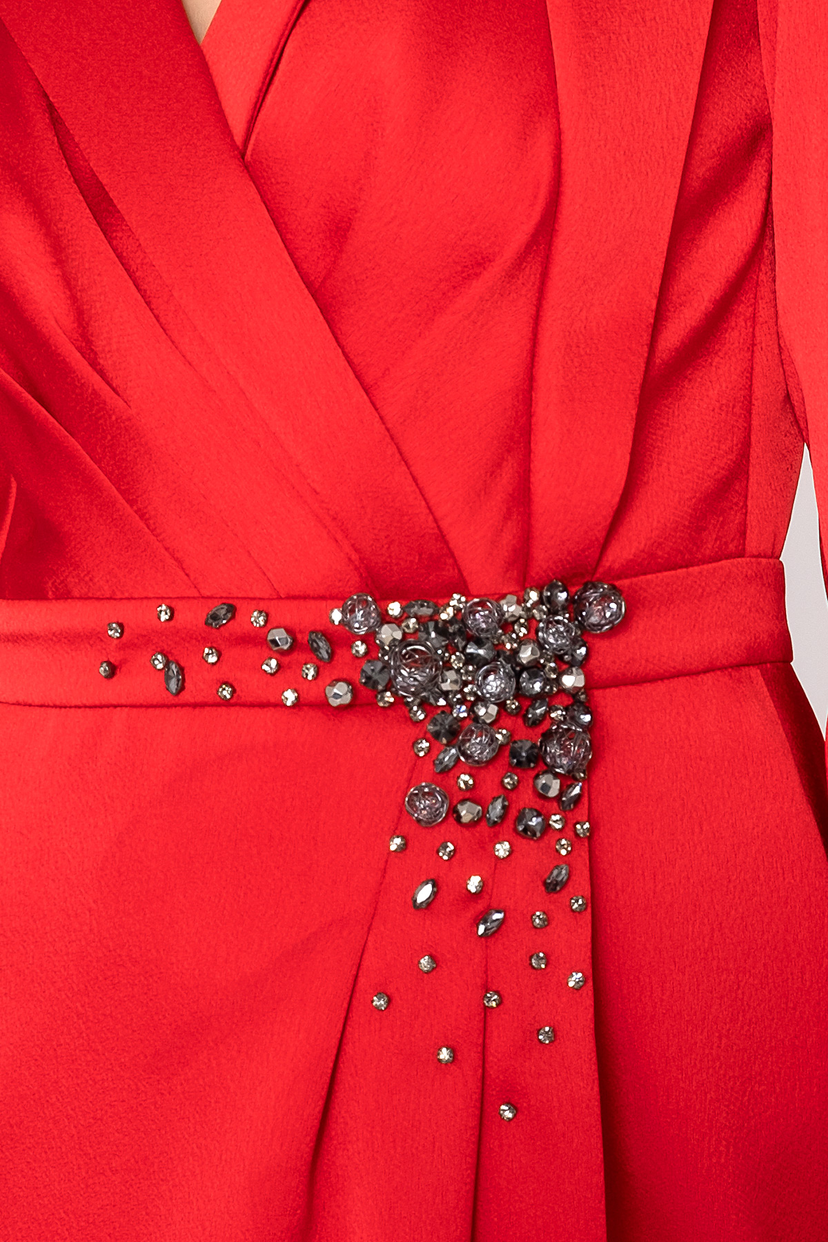 Stone Detailed Red Long Evening Dress