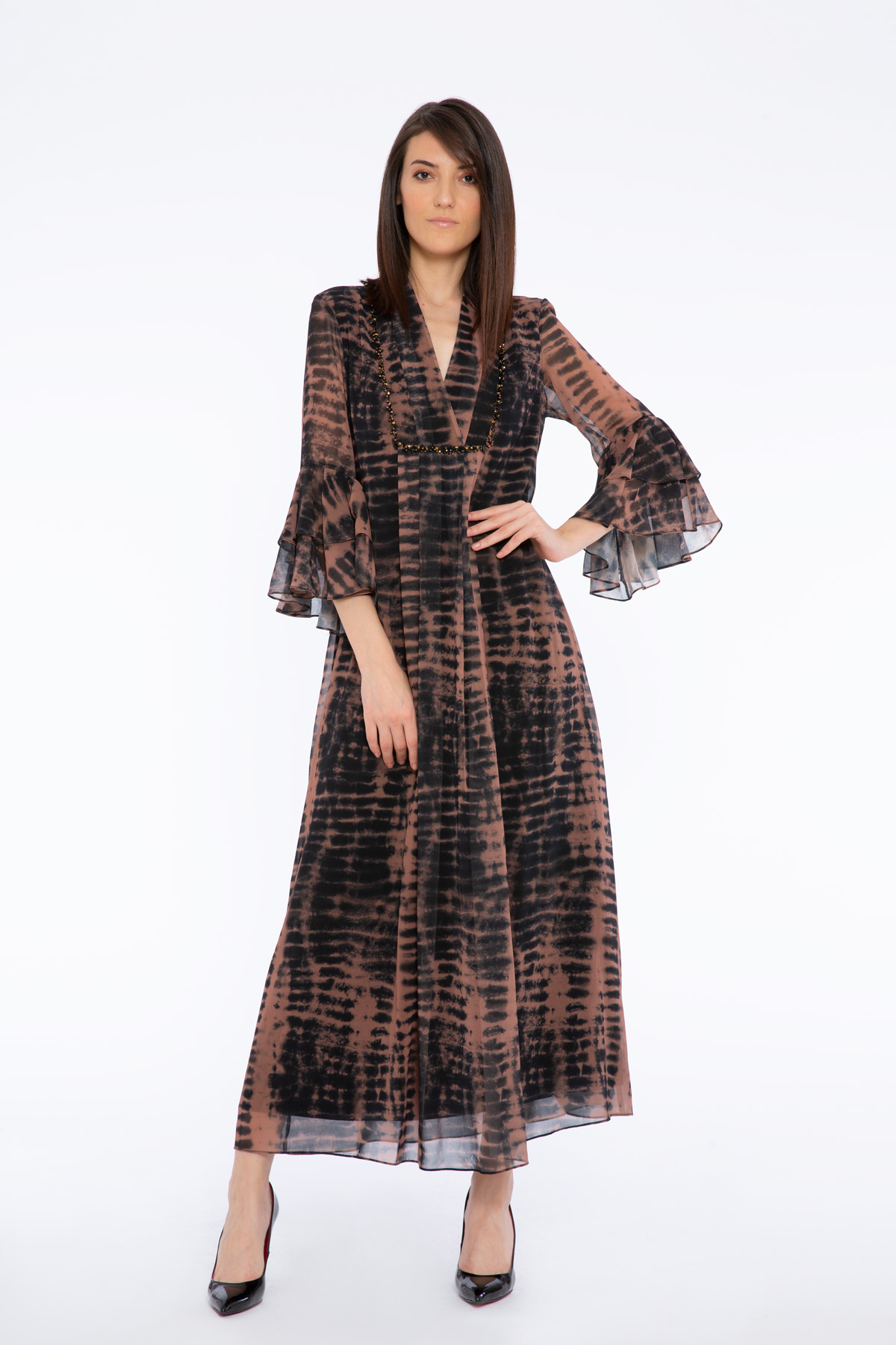 Stone Embroidered Batik Patterned Long Dress