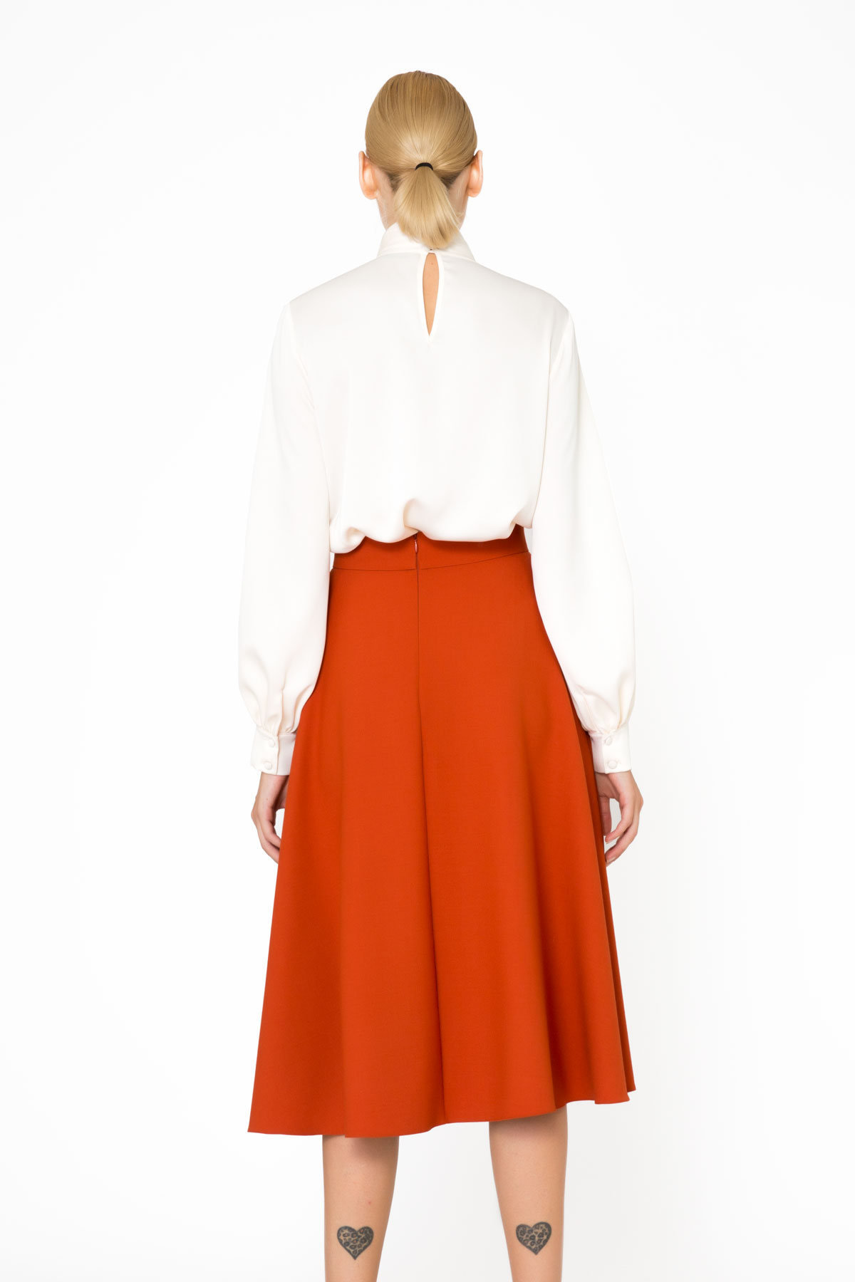 Stone Embroidery Detail Orange Midi Skirt