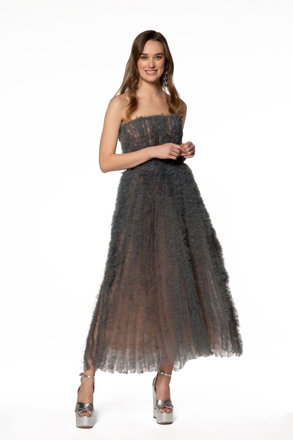 Straplez,Tül Midi Elbise