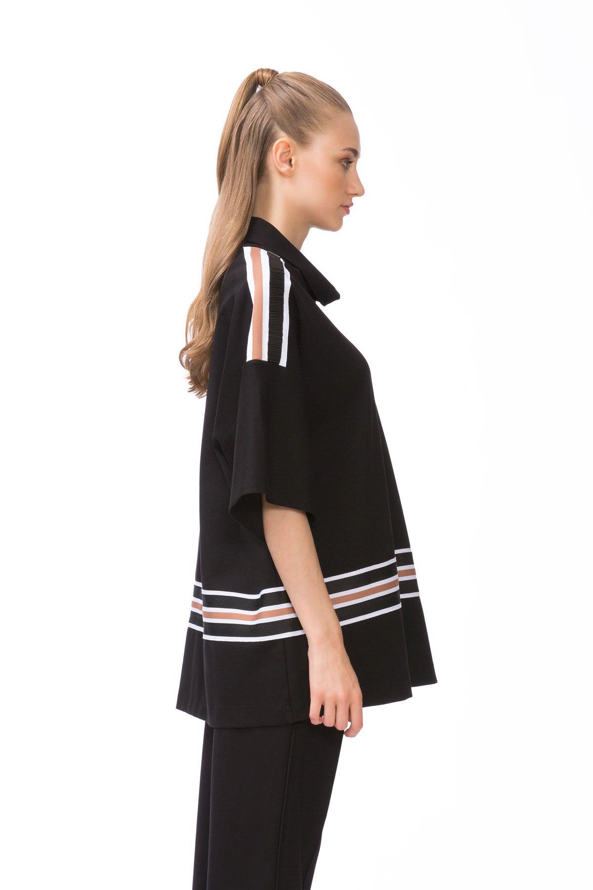 Stripe Detail Oversized Black Sport Top