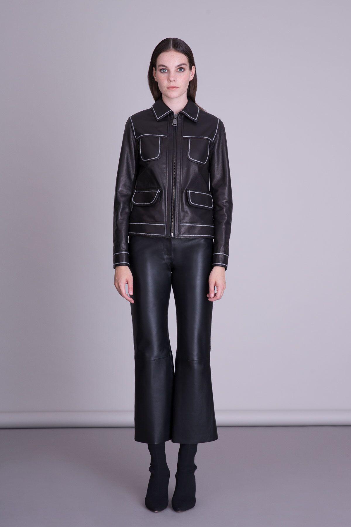Striped Leather Jacket