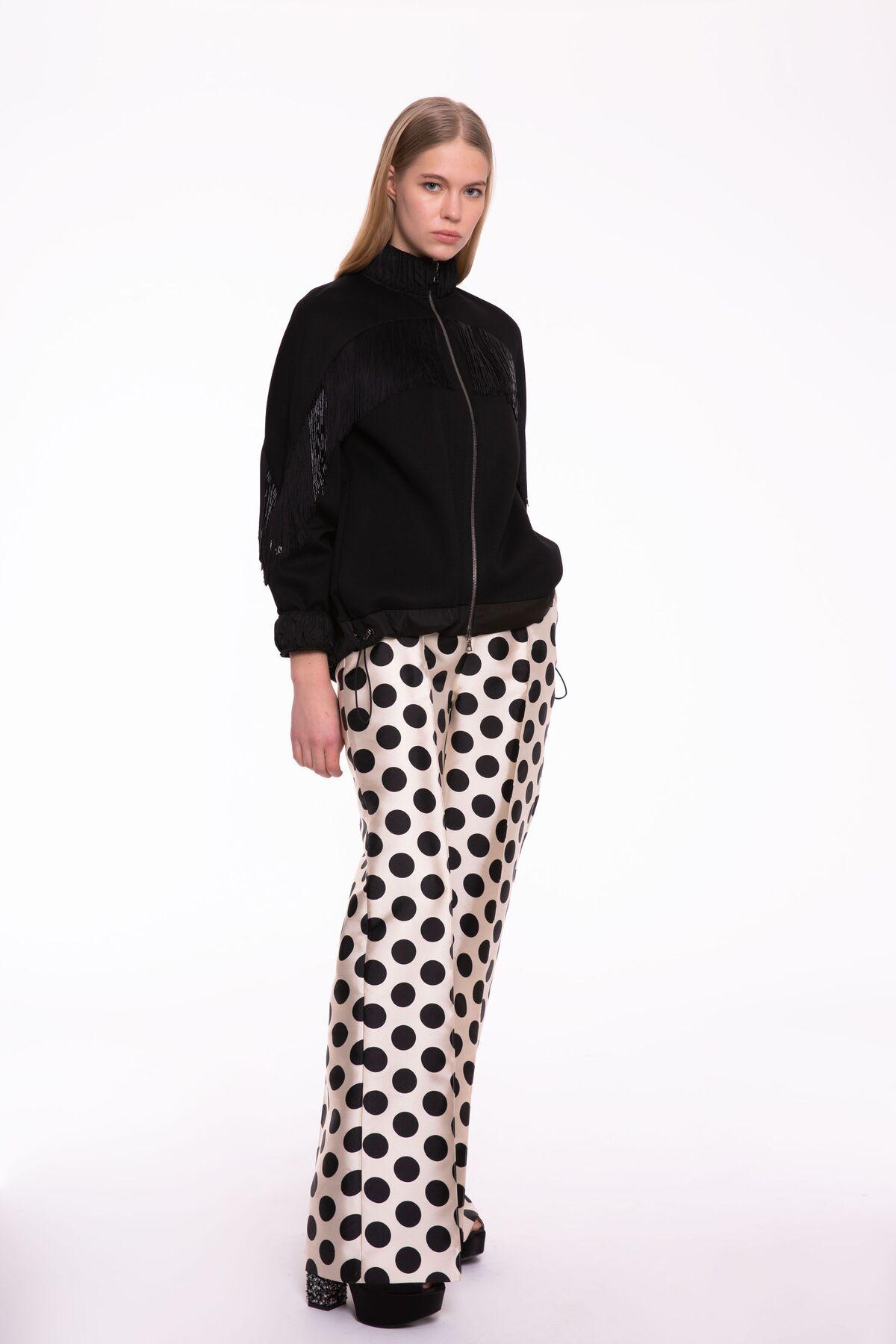 Siyah-Beyaz Puantiye Desenli, Bol Paça Pantolon