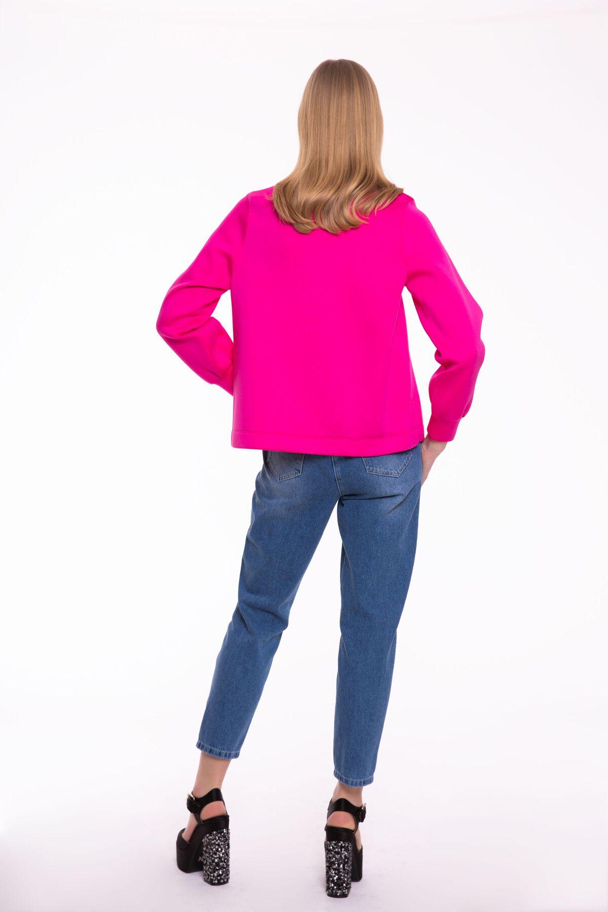Taş İşlemeli Fuşya Sweatshirt