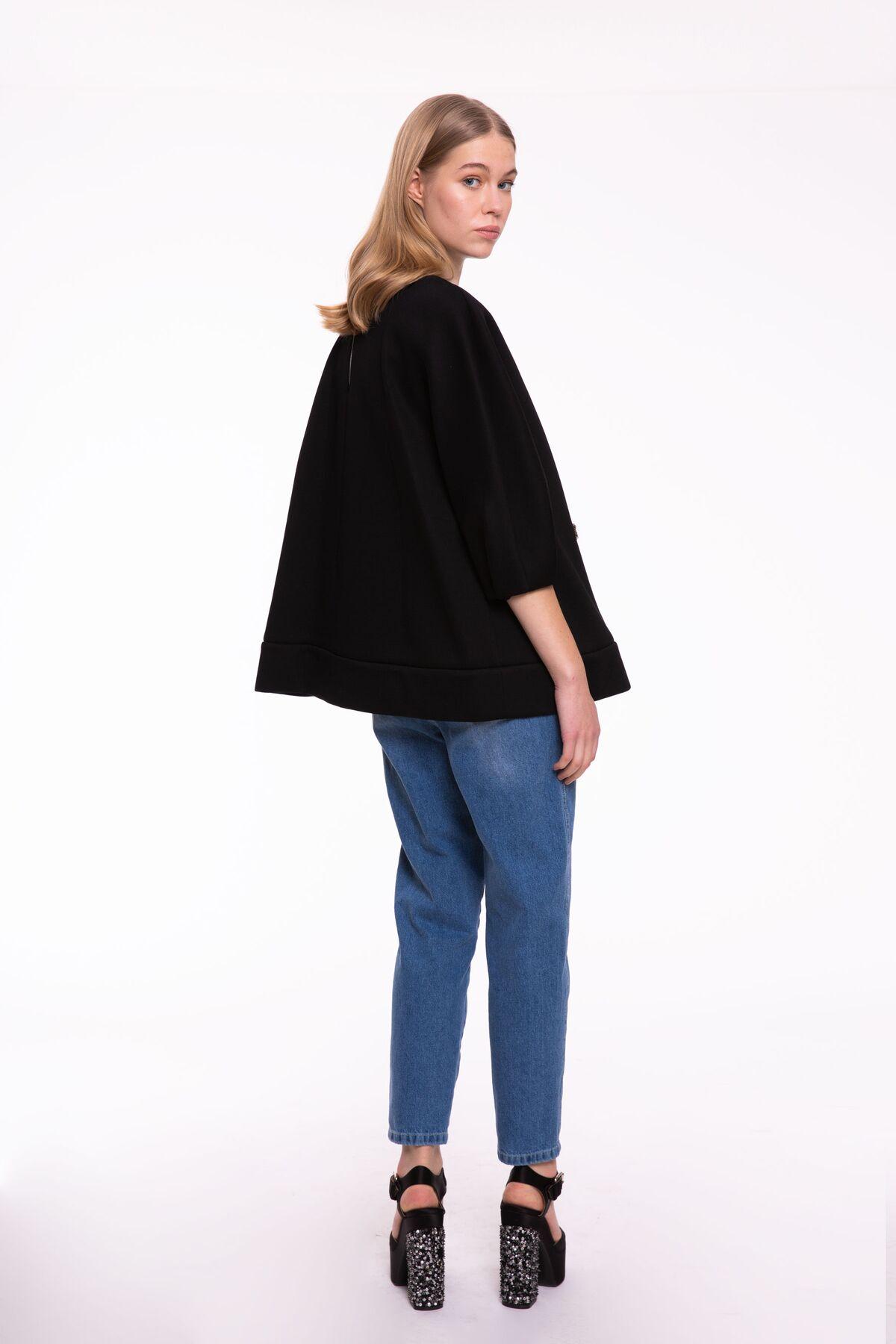 Taş İşlemeli Yarım Kol Siyah Sweatshirt