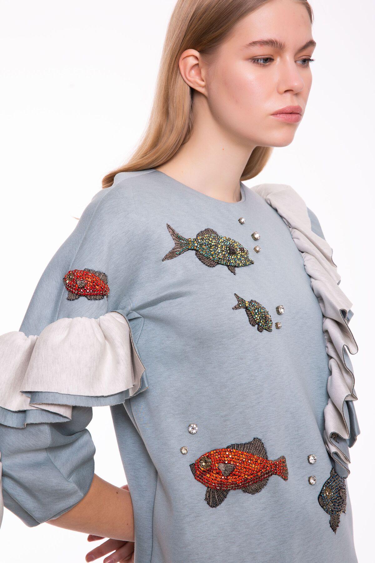 Fırfır Detaylı Taş İşlemeli Nil Yeşili Sweatshirt