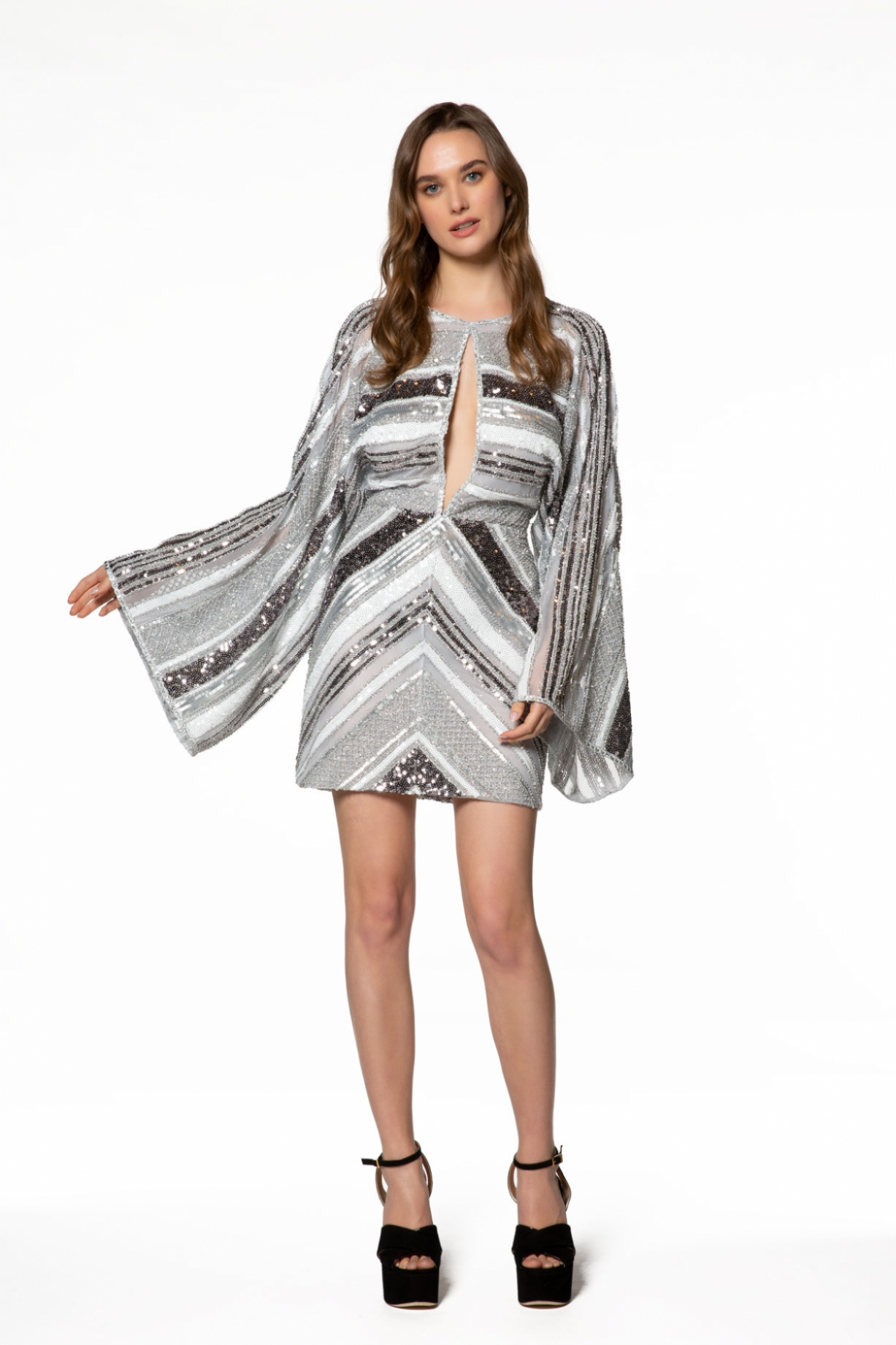 Parlak Payetli Mini Elbise
