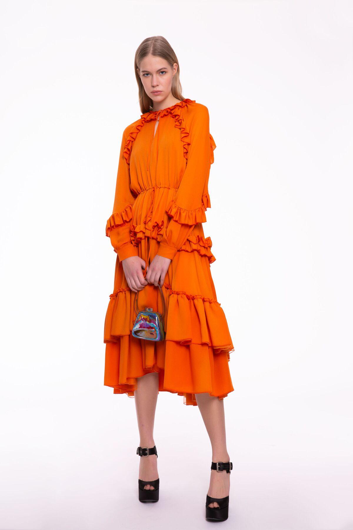 Fırfır Detaylı Turuncu Midi Boy Elbise