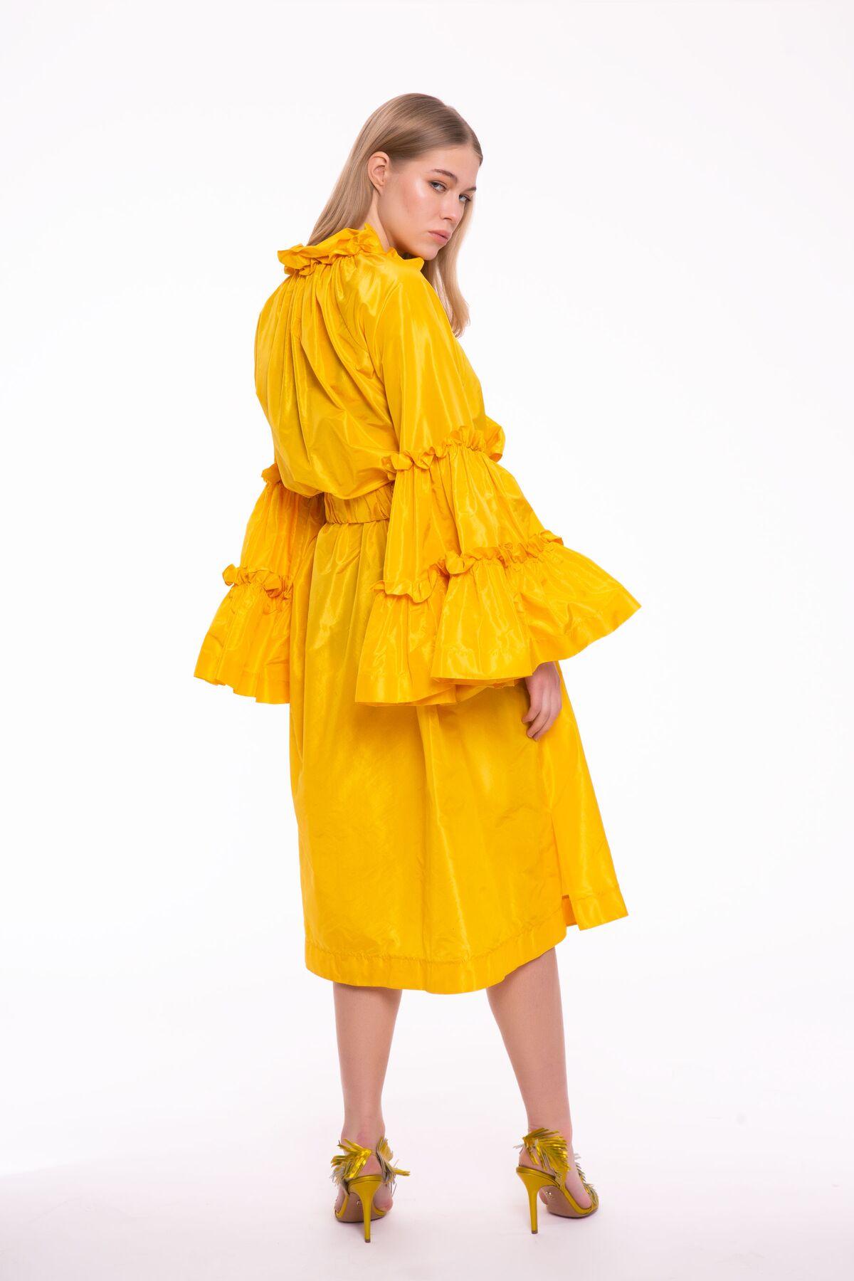 Fırfır Detaylı, Sarı Midi Boy Elbise