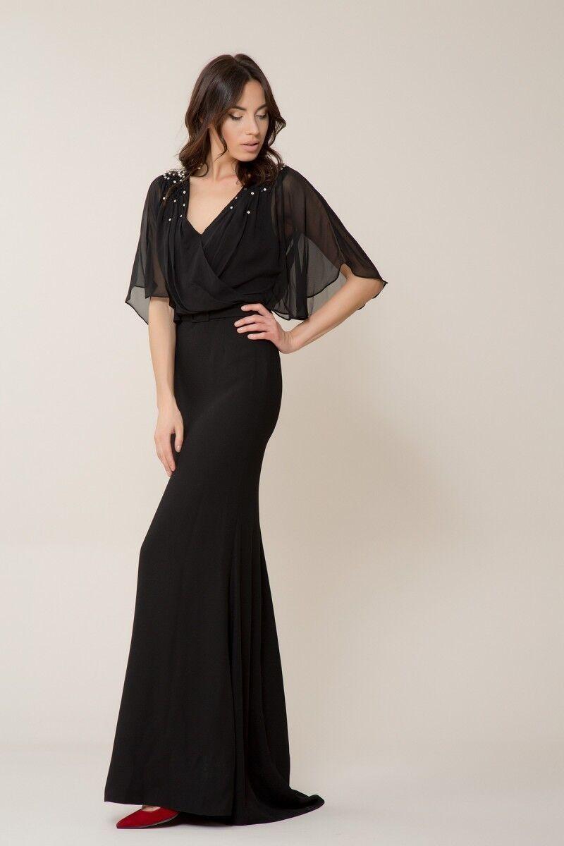 GIZIA - Taş Detaylı Siyah Uzun Elbise