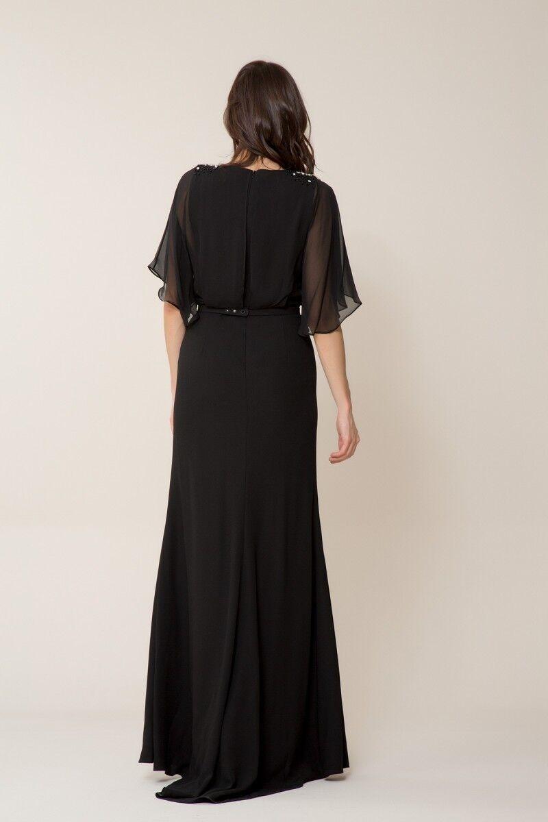 Taş Detaylı Siyah Uzun Elbise