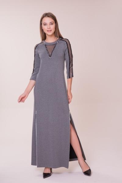 GIZIA - Kol ve Yaka Detaylı Gri Elbise