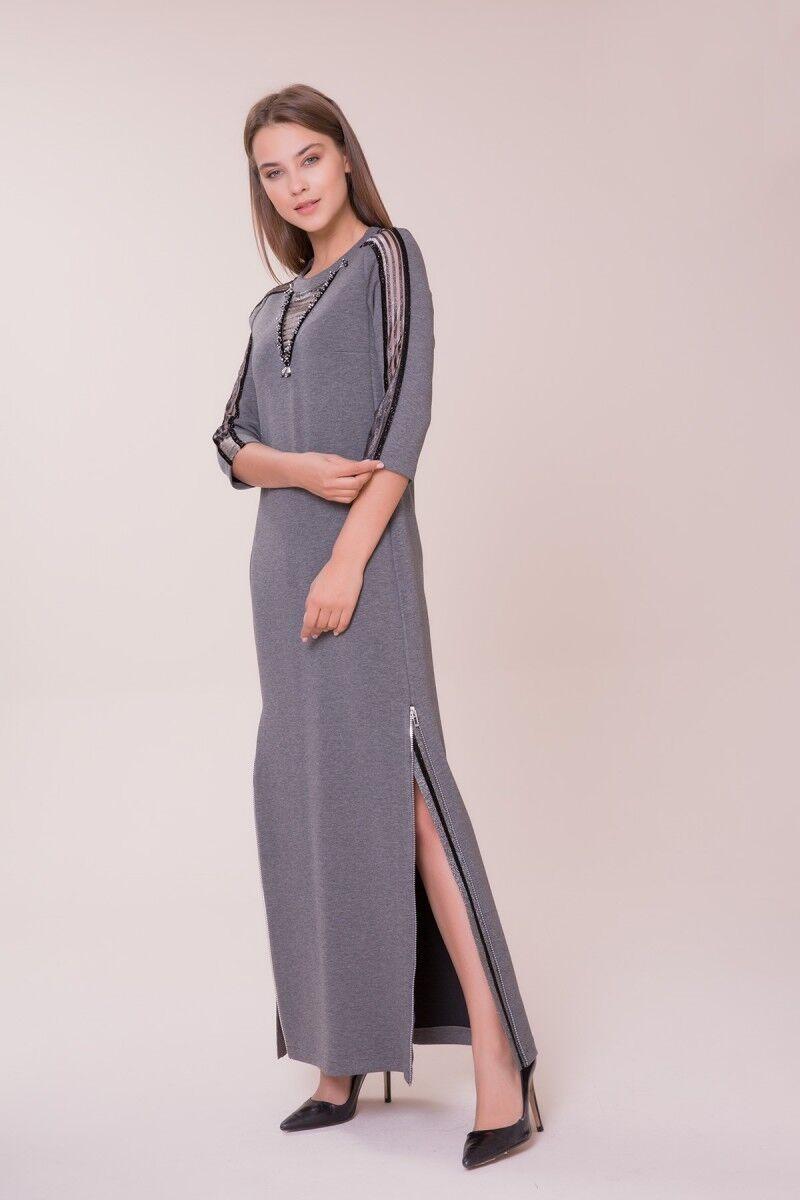 Kol ve Yaka Detaylı Gri Elbise