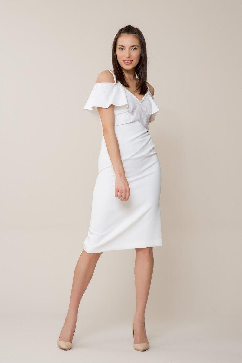 GIZIA - Taş İşlemeli Beyaz Elbise