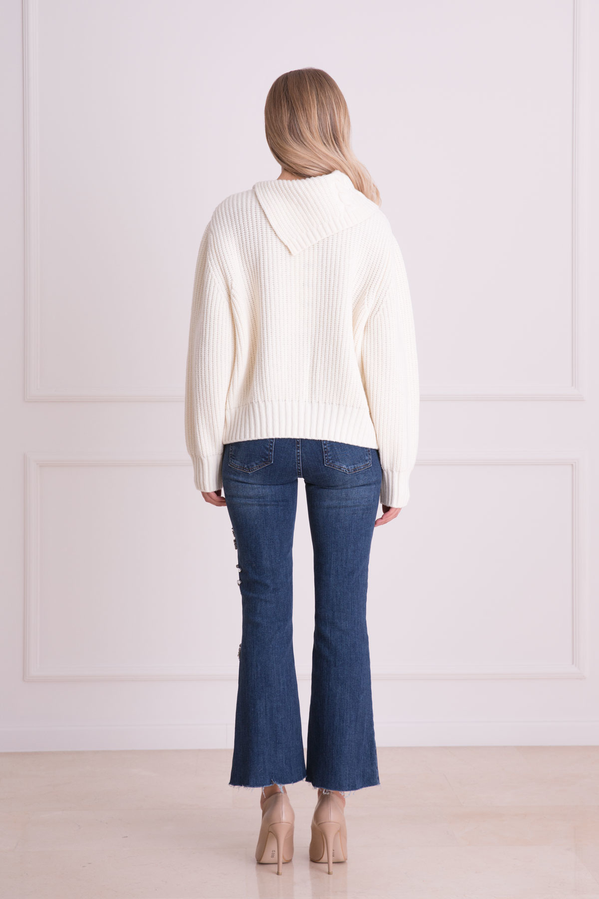 Taş İşlemeli Bol Paça Mavi Jean Pantolon