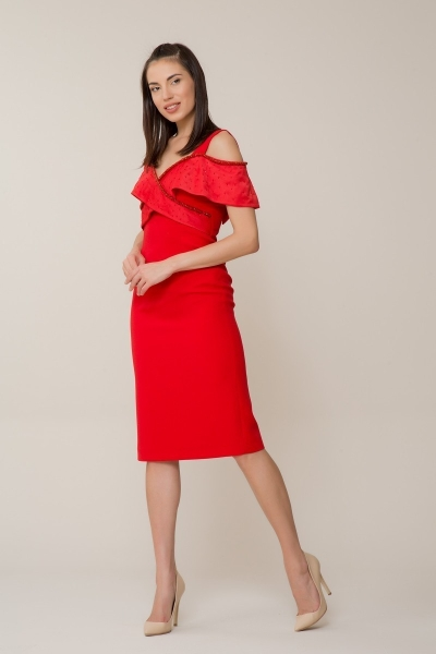 GIZIA - Taş İşlemeli Kırmızı Elbise