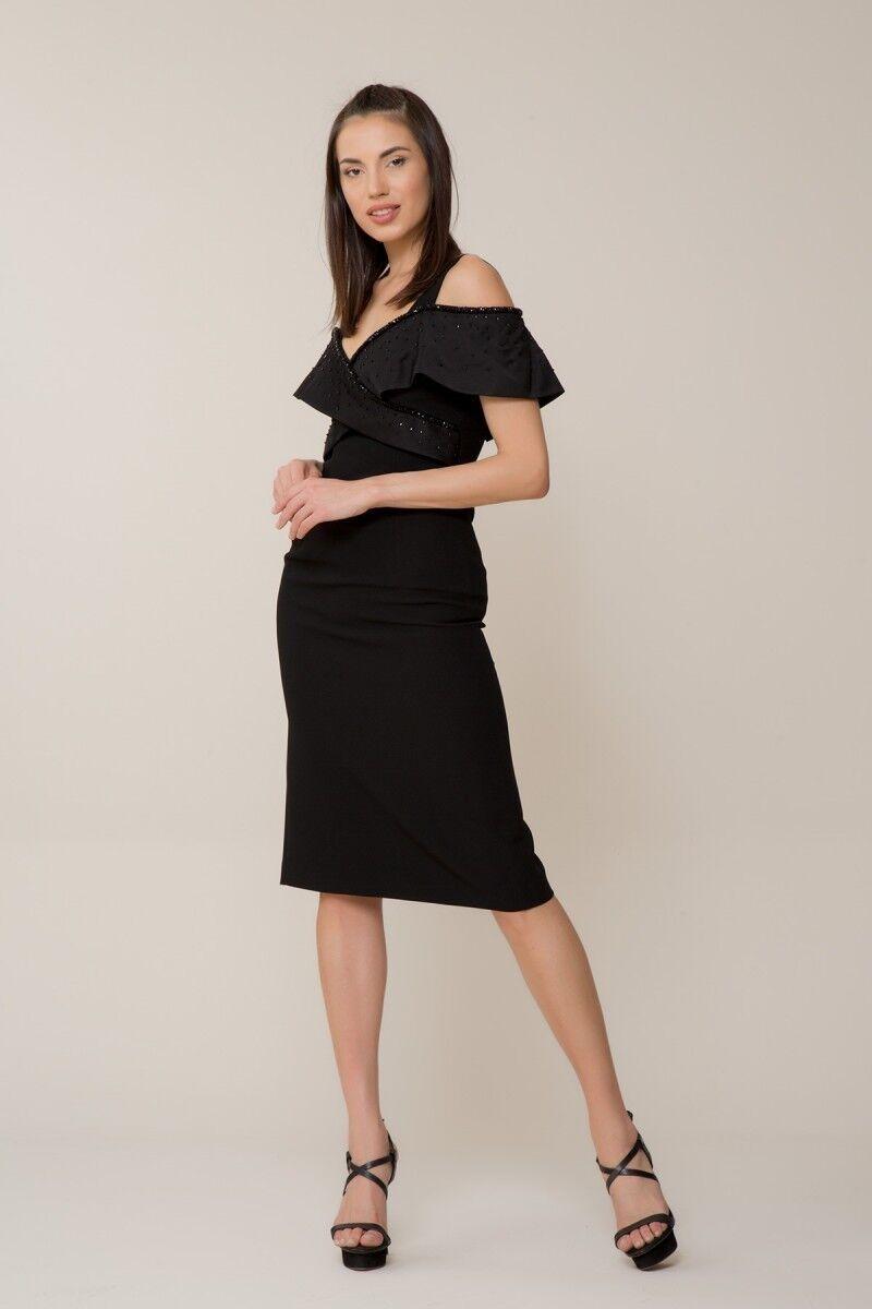 Taş İşlemeli Siyah Elbise