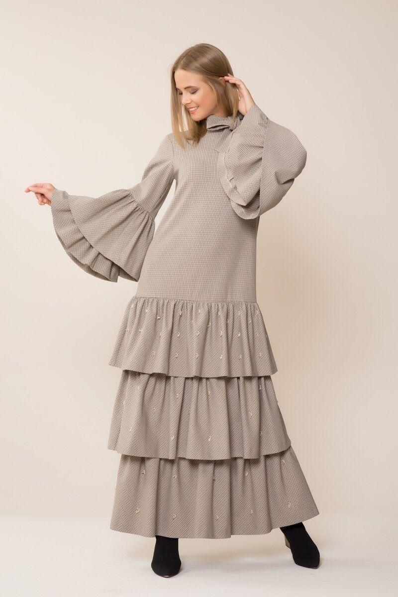 Taş İşlemeli Uzun Ekose Elbise