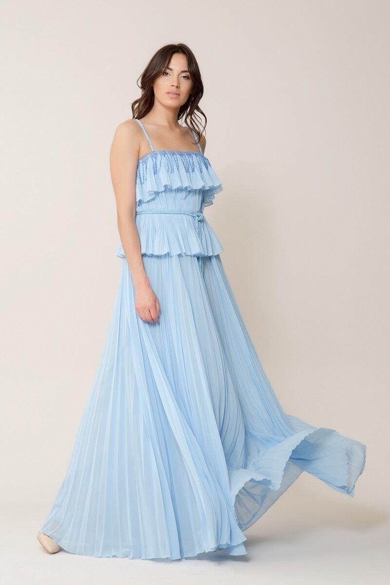Taş Kemer Detaylı Bebek Mavi Uzun Elbise