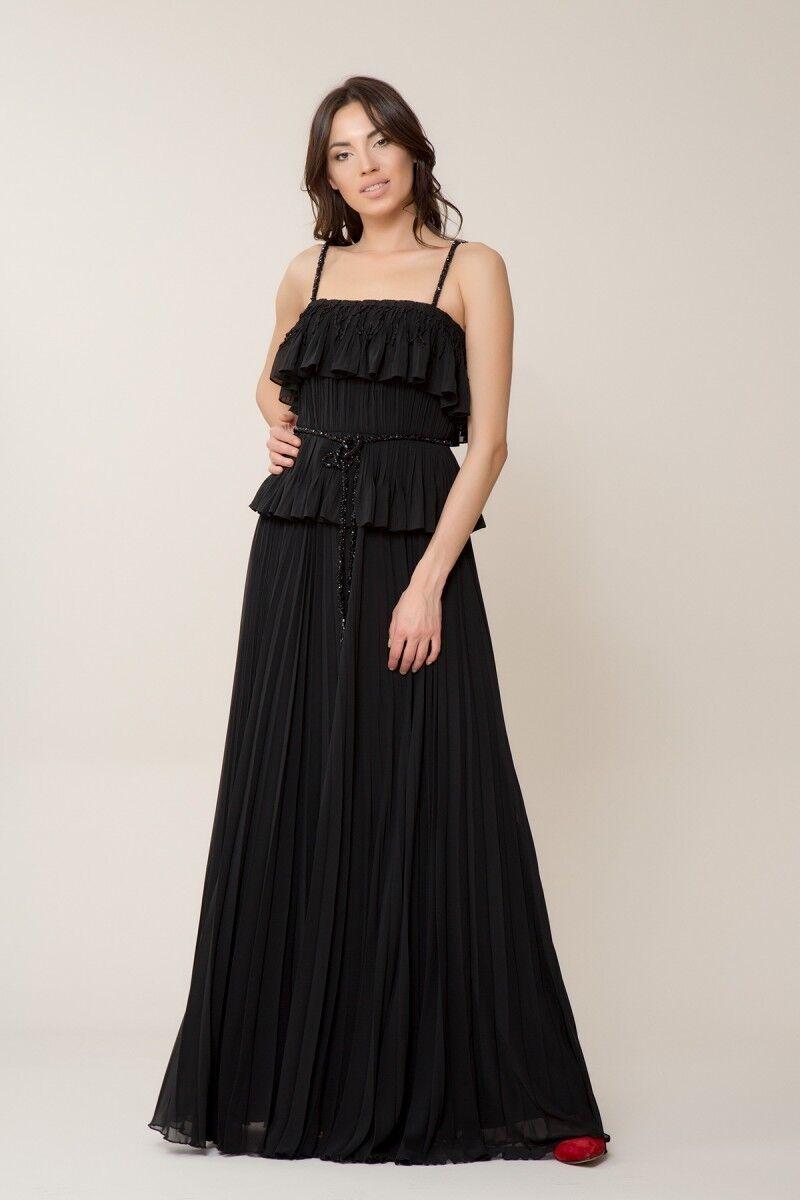 GIZIA - Taş Kemer Detaylı Siyah Uzun Elbise