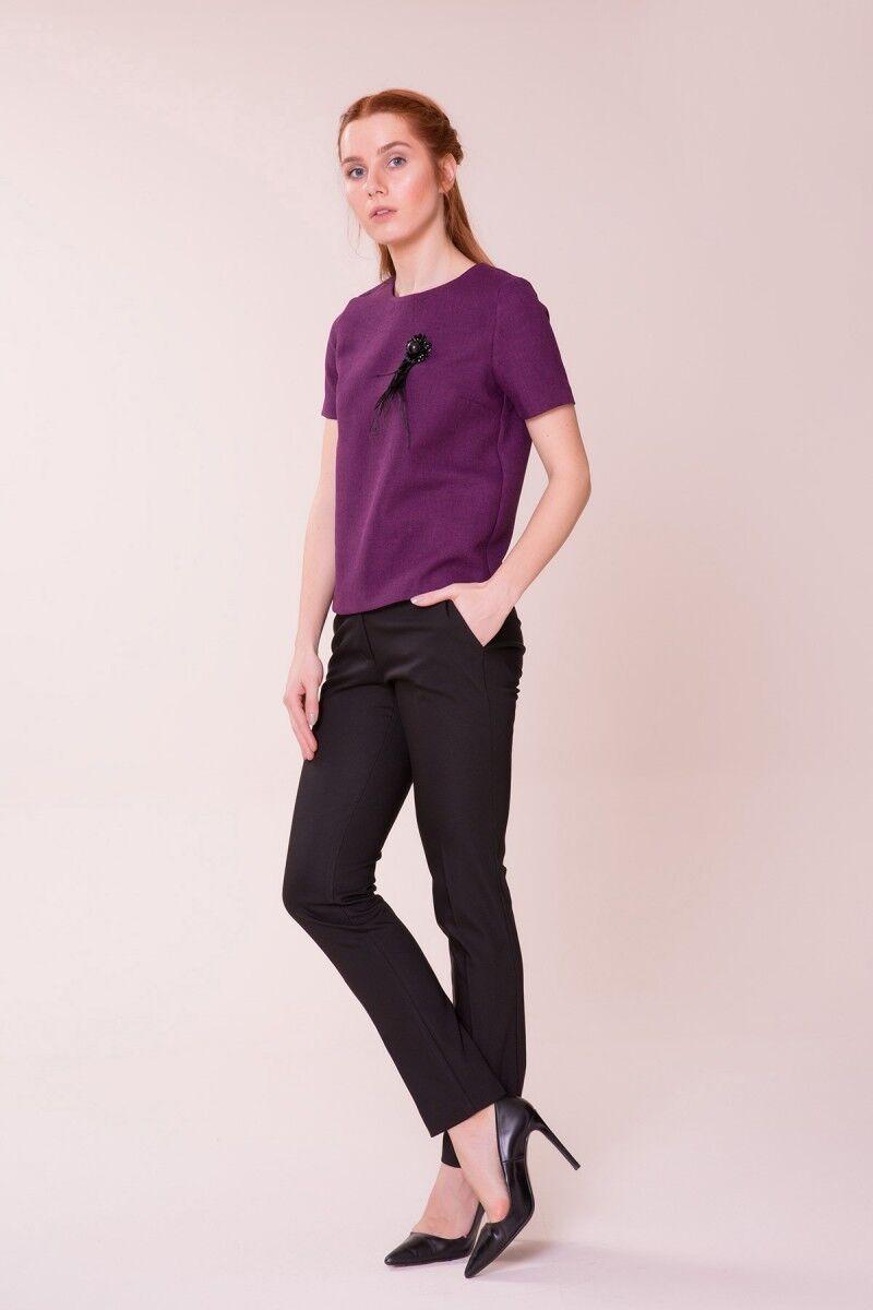 Mor Bluz-Siyah Pantolon Takım