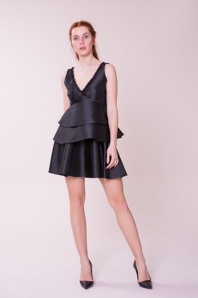 GIZIA CASUAL - V Yaka Siyah Bluz-Siyah Etek Takım