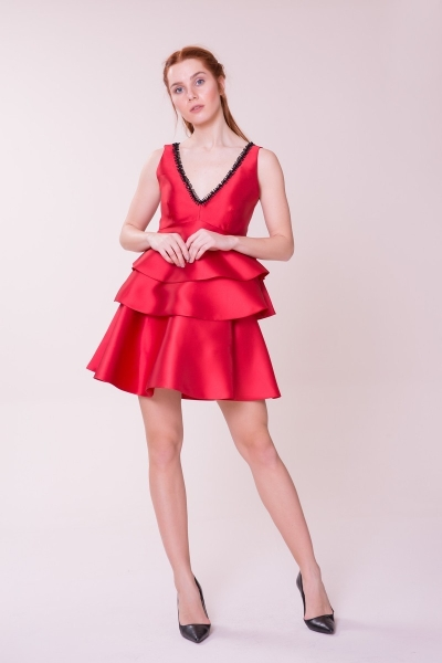 GIZIA CASUAL - V Yaka Kırmızı Bluz-Kırmızı Etek Takım