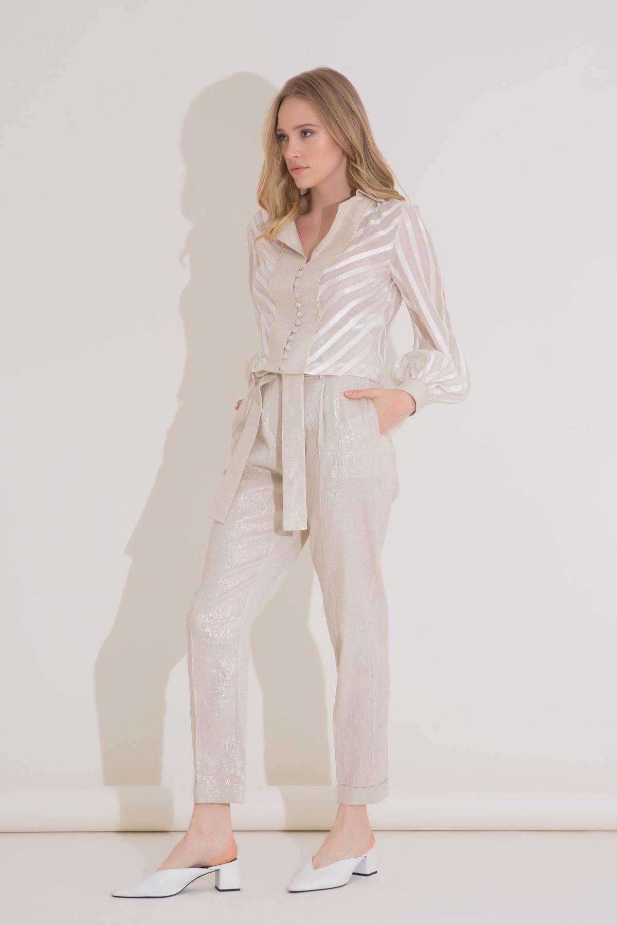 Transparan Çizgili Kısa Bej İpekli Gömlek
