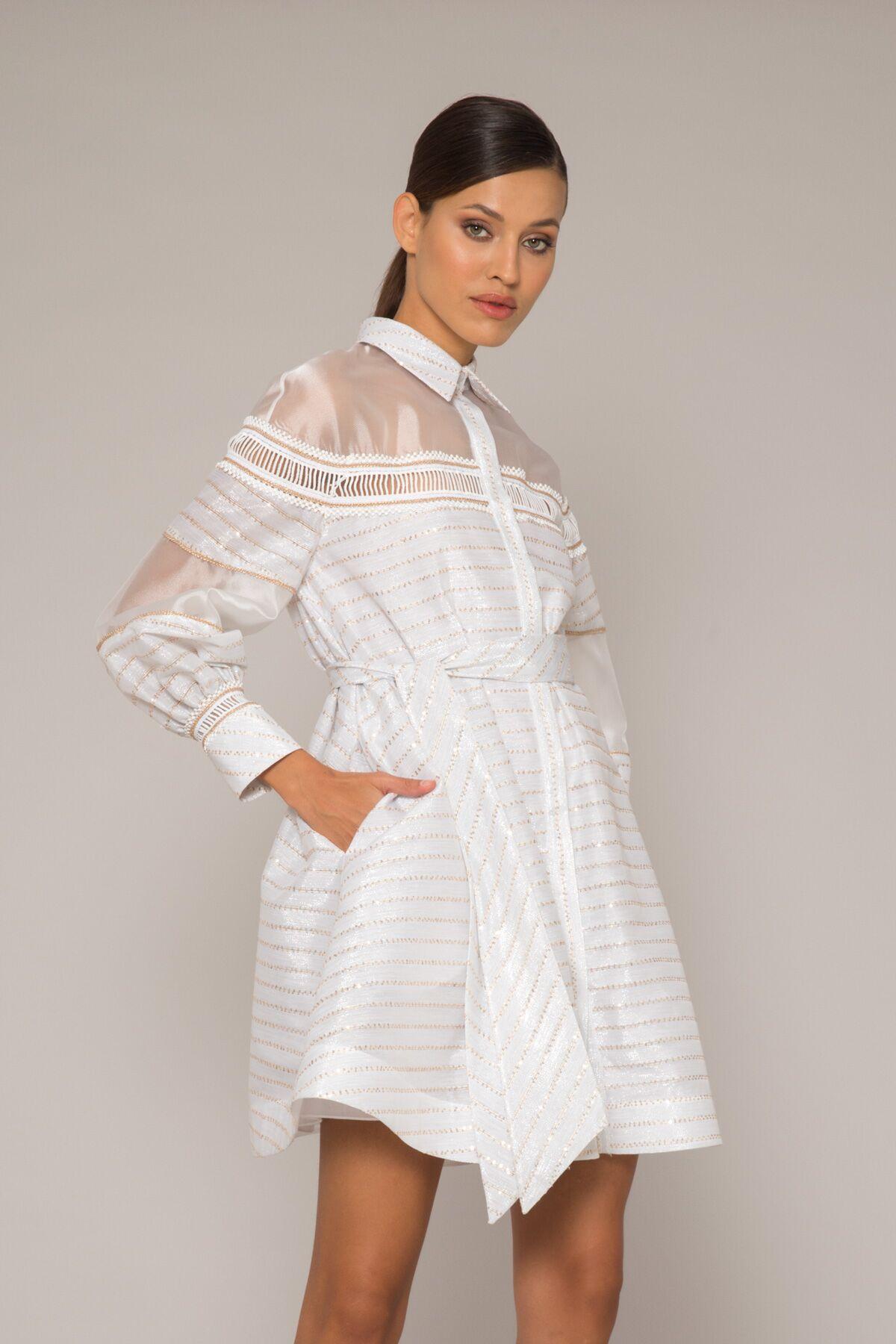 Transparan Detaylı Gömlek Elbise