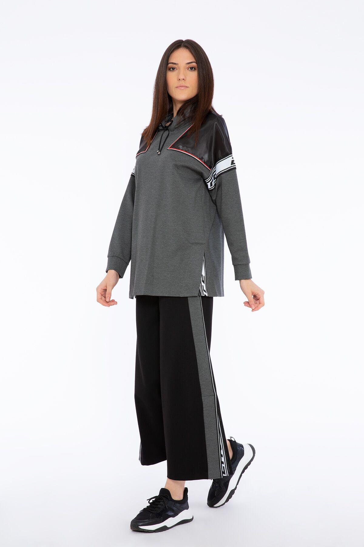 Transparent Shoulder and Stripe Detailed Gray Hooded Sweatshirt